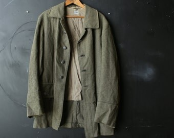 Vintage Wool Jacket Mens Army Green Metal Buttons With Crowns Uniform Jacket Two Pockets in Back Vintage From Nowvintage on Etsy
