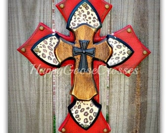 X-Small Wall Cross - Antiqued Red, Leopard/Cheetah print, with Brown Stain Layer