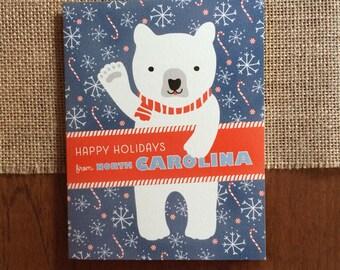 Polar North Carolina Folded Holiday Cards, Box of 10 - North Carolina Christmas Cards - Happy Holidays from North Carolina - OC1174-NC-BX