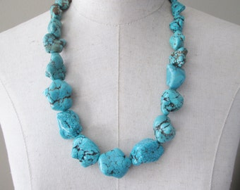 Chunky Turquoise Necklace,  Chunk Nuggets Long Necklace