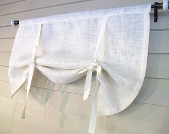 White or Natural Burlap 60 Inch Long Swedish Roll Up Shade Tie Up Curtain Stage Coach Blind