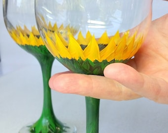 Sunflowers, Wine glasses, Stemware, Barware, floral, hostess gift, hand painted,  set of two