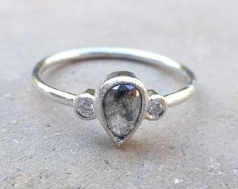14k white gold Rose cut black diamond ring.  Engagement ring with black diamond.  Engagement ring with rose cut black diamond and milgrain.