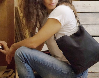 black canvas purse, vegan shoulder purse, small purse, vegan purse, hobo purse handbag, black evening bag, evening purse, womens handbags