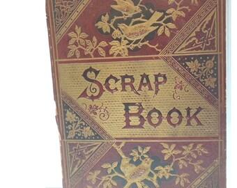 Antique Victorian  Scrap Book Cover - Magnificent Pressed Burgundy And Gold Esthetic Movement Album Cover, 1800's