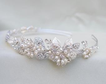 Bridal Swarovski Crystal And Pearl Headband / Wedding Head Piece / Vintage Inspired Crystal / Pearl Bridal Tiara ( Last One Special Price !)