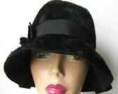 Designer Hedy Lenz 1920's Style Black Beaver Fur Felt Women's Cloche Hat - Reading, Pa.