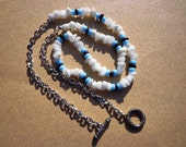 Necklace Snow Quartz Gemstones with Blue Glass and Garnet Gemstones 26 Inches