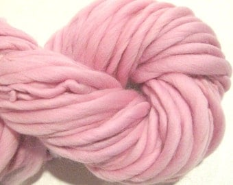 Super Bulky Handspun Yarn Pale Pink 60 yds, baby girl yarn, merino wool yarn, knitting supplies, crochet supplies, waldorf doll hair
