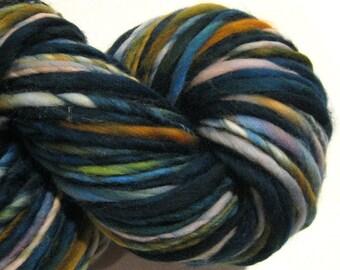 Handspun Yarn Apocalypse 132 yards hand dyed merino wool green grey gold blue yarn waldorf doll hair knitting supplies crochet supplies