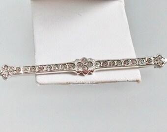 Sterling Rhinestone Bar Pin, Brooch, Art Deco 1920, Antique Jewelry