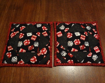 Dice themed quilted potholders-pair