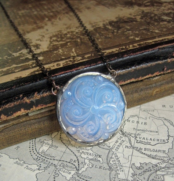 Glass Moonstone Medallion Necklace Stained Glass Jewelry