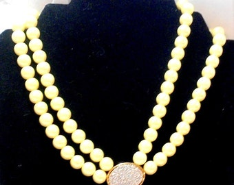Double Strand 10M Faux Pearl Necklace Rhinestone Center and Clasp Signed PC