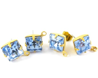 2 pcs - Gold Plated Faceted Glass Stone Earring Posts Loop Ear Studs Earring Finding Square 8x8mm - Light Sapphire
