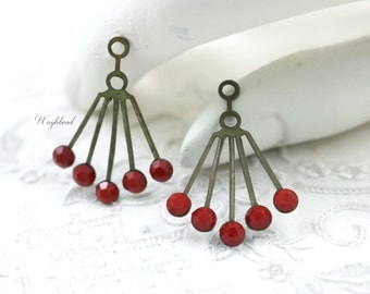 RARE Vintage Art Deco Style Ear Jackets Brass Dangle Finding Opaque Cherry Red 30x21mm Swarovski Crystals - 2