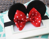 Baby Minnie Ears Girls Stretch Headband Red Polka Dot Bow Mickey Mouse Ears Band Photography Prop