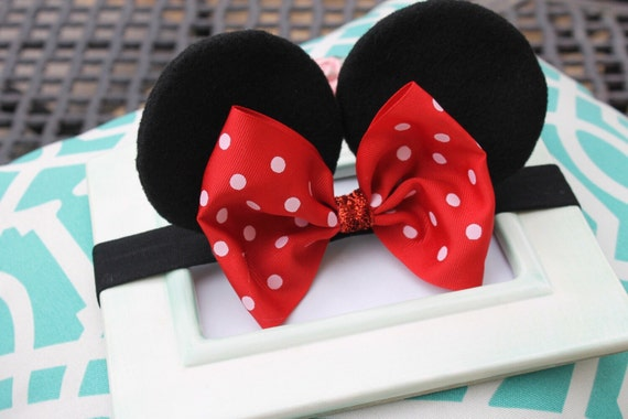 Baby Minnie Ears Girls Stretch Headband Red By Haleysheadbands