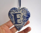 initial E - Captal E -Monogram - Hand painted stoneware  Heart -  Blue and white Delftware ornament