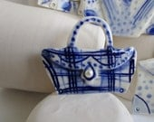 Handbag Brooch - Hand built and hand painted Blue Delftware Porcelain
