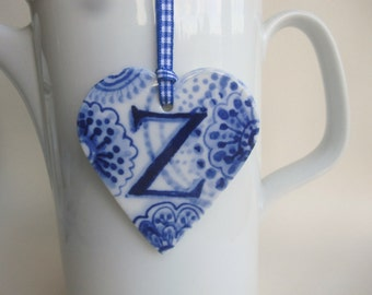 Sale - initial Z - Captal Z -Monogram - Hand painted porcelain  Heart -  Blue and white Delftware ornament