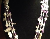 SALE Beautiful Three Strand Pearl, Mother of Pearl, Amethyst, Shell, Quartz & Crystal Necklace
