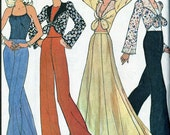 Vintage 70s McCalls 4784 UNCUT Misses Halter Top, Maxi Gored Skirt and Tie Front Blouse Sewing Pattern Size 10 Bust 32.5