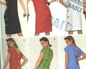 Vintage 80s McCalls 8994 Misses UNCUT Summer Back Button Sheath Dress Sewing Pattern Size 12 Bust 34