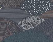Hello, Bear Fabric - Summit Twilight - Navy Blue Gray Black Brown Designer Cotton- Art Gallery Fabrics - Baby Boy - Unisex -In Custom Cuts