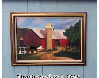 Oil Painting  - Barn Oil Painting - Red Barn Oil Painting - Vintage Oil Painting - Amish Oil Painting - Vintage Painting - Wall Hanging