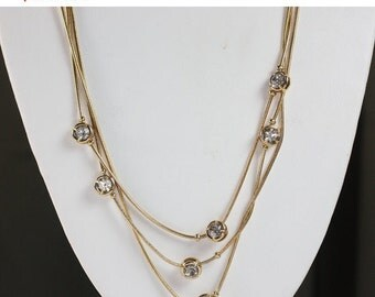 CIJ Sale Three Chain Necklace Crystal Accents Gold Tone  Serpentine Chain Vintage