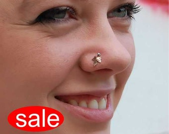 A New Leaf Sterling Silver and Copper Nose Stud  - CUSTOMIZE