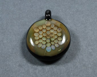 Multi-Layered Glass Pendant with a Hexagonal Pattern using Clear and Colored
