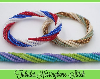 Tubular Twisted Herringbone Bangle Bracelet KIT (Bronze & Cream) Jewelry Making