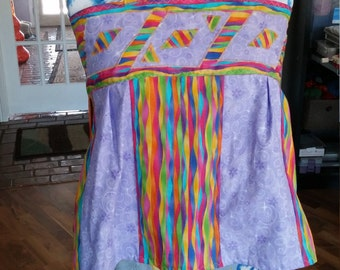 Women's Patchwork Summer Shirt Rainbow Geometry