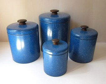 Ransburg Speckled Blue Enamelware Nesting Canister Set with Wood Knobs