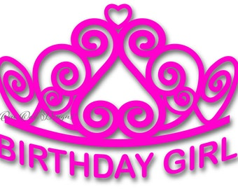 Tiara SVG File Birthday Girl PDF / dxf / jpg / png / eps / ai / for Cameo V2 V3, svg file for Cricut & other electronic cutters