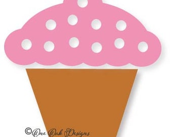 Cupcake SVG File / DXF / PDF / ai / eps / jpg / png  svg file for Cameo Version 2 & 3,  svg file for Cricut Polka Dot Cupcake Cut file