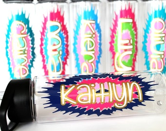 5-9 Pack Personalized Water Bottle Birthday Party Favors Kids Children Teens Tween Girls Tie Dye Fun Custom Colorful