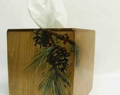 Boutique style Tissue Box  with Pine Cone       Wood Tissue Box     Pine Cones