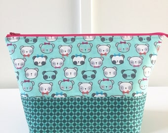 Large Open Wide Pouch in Teal Pandas | Zippered Pouch | Cosmetic Bag