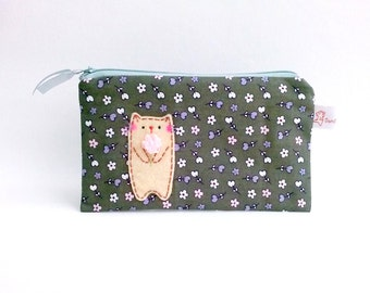 Cute cat fabric pencil case zipper pouch small flower cosmetic pouch for her for cat lovers for mom stocking stuffers Christmas gift