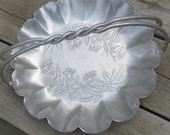 vintage 50s embossed hammered aluminum bowl dish basket braided handle rose pattern