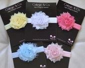 SALE Baby Headbands  - Flower Headband - Newborn Headband - Baby Girl Headband - Toddler Headband - Shabby Chic Rose Flower - 5- Pack