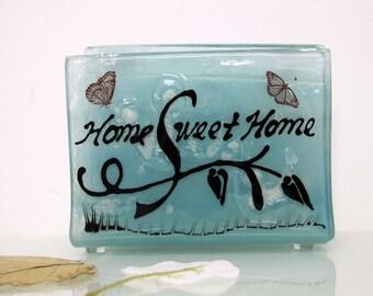 Napkin holder, Fused glass  home sweet home napkinholder,letter holder,  memo holder House warming gift, Hostess gift, Home decoration