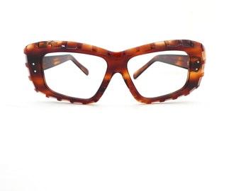 Big Tiki Carved Tortoise Frame France Eyeglasses Mad Scientist Susan Test Nerd Mod VTG 60s Sunglasses NOS 60s 50s GoGo Festival Urban Tribal
