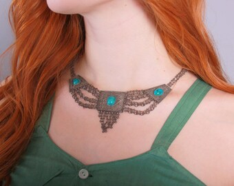 Vintage 70s NECKLACE / 1970s Gypsy Chain Mail Metal & Turquoise Ethnic Necklace