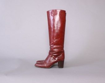 Vintage 80s BOHO BOOTS / Early 80s Tall Oxblood Leather Joan & David Couture Knee High Boots 7 -  7 1/2
