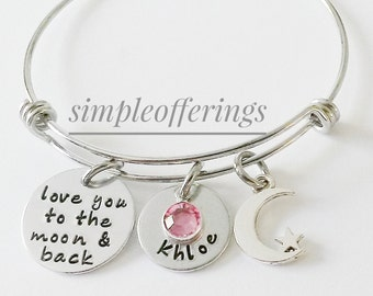 Personalized I Love You To The Moon And Back Bracelet,Hand Stamped Jewelry,Daughter Gift,Wire Bangle,Kids Names,Moon & Back Bangle,Mom Gift