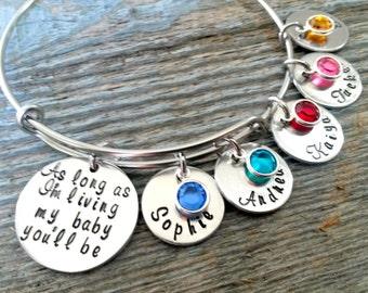 As Long As I'm Living My Baby You'll Be Bracelet-Expandable Bracelet-Personalized Mom Jewelry-Charm Bracelet-Name Bracelet-Kids Names Bangle